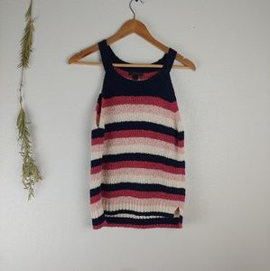 J. Crew Knit Pink and Navy Tank